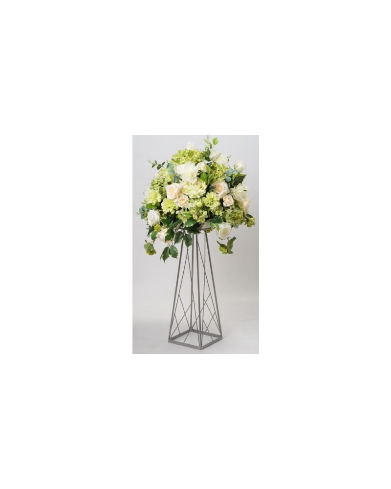 60cm Geometric Silver Trapezoid Metal Flower Stand