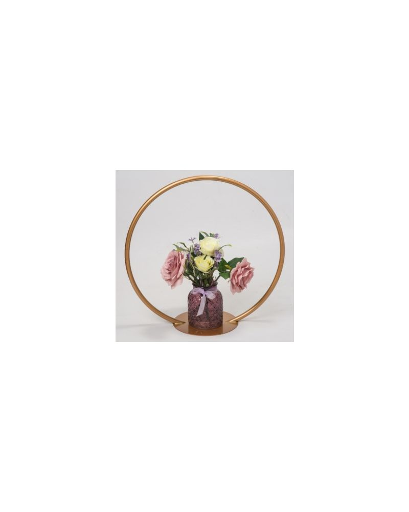 Gold Metal Table Hoop Flower Stand Table 60cm With Round Base