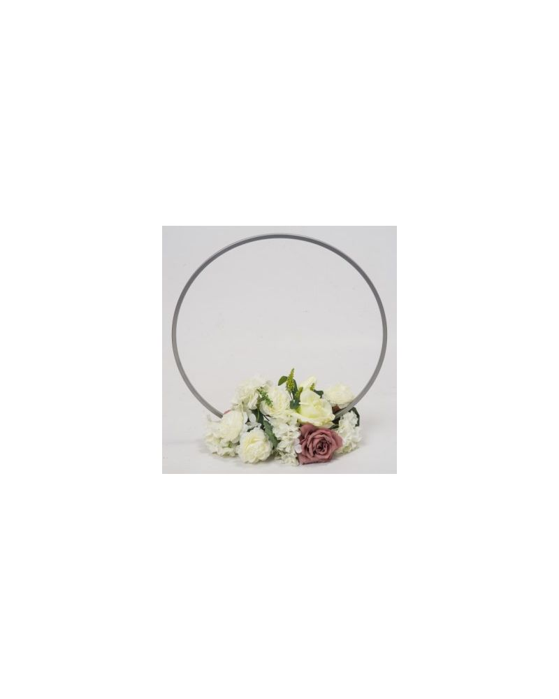 Silver Metal Table Hoop Flower Stand Table 60cm