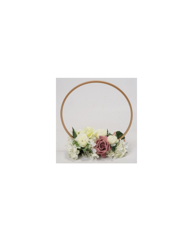 Gold Metal Table Hoop Flower Stand Table 40cm