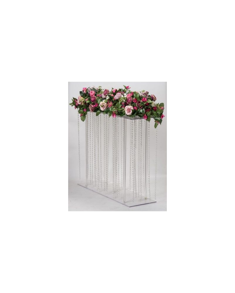 Acrylic Rectangle Flower Stand Table Pedestal with Hanging crystals L100cmxH80cm