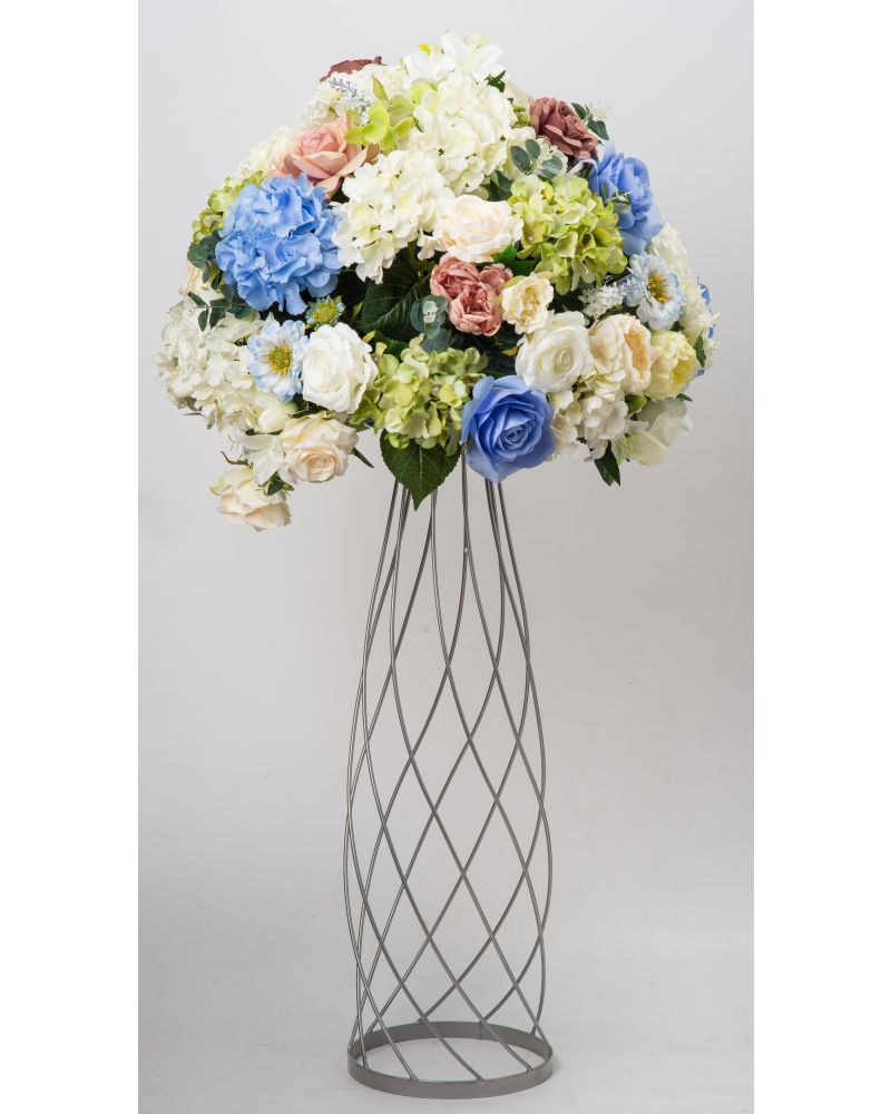 80cm Geometric Silver Twirling Metal Flower Stand (Slender)