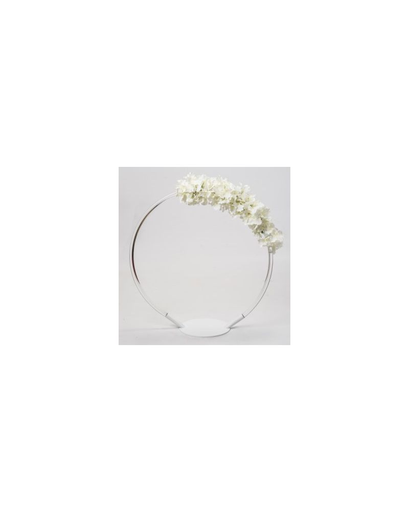 Acrylic 80cm Flower Stand Hoop (White Metal Base Stand)