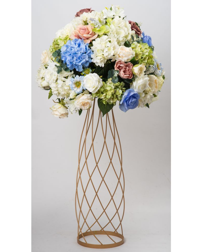 80cm Geometric Gold Twirling Metal Flower Stand