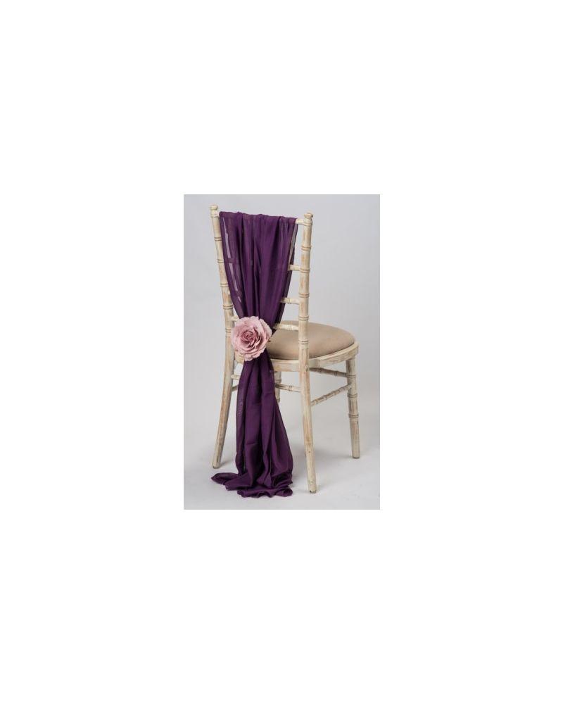 Grape Aubergine Chiavari Chair Cover Wedding Chiffon Vertical Drops