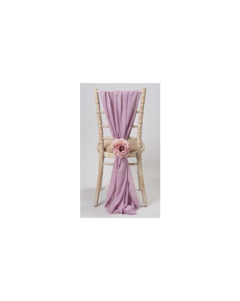 Dusky Lilac Chiavari Chair Cover Wedding Chiffon Vertical Drops
