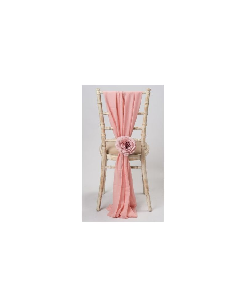 Blossom Peach Chiavari Chair Cover Wedding Chiffon Vertical Drops