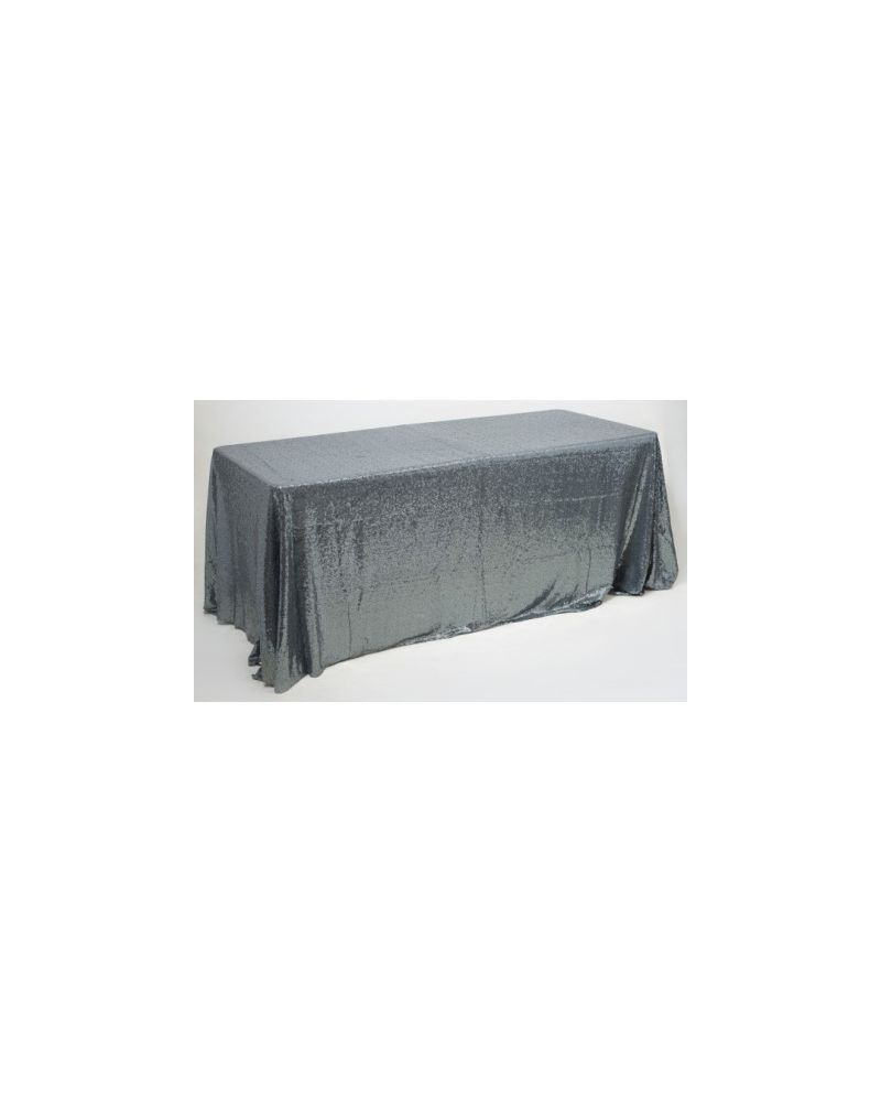 90x132 Inch Grey Rectangular Sequin Tablecloth / Overlay