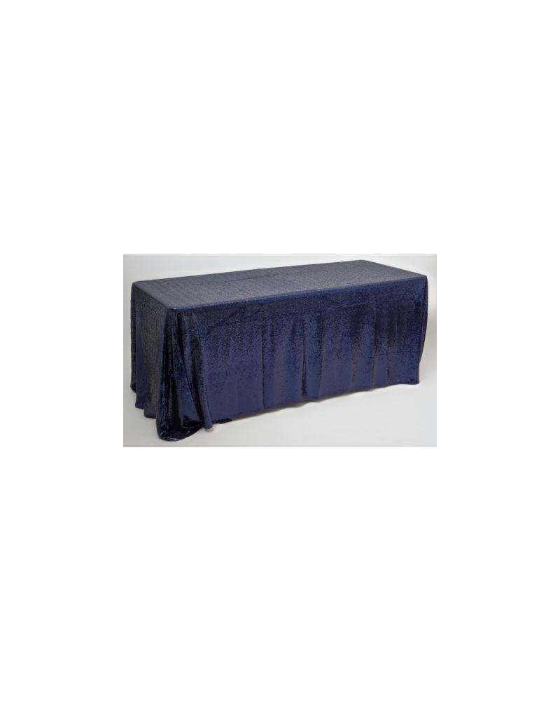 90x132 Inch Navy Blue Rectangular Sequin Tablecloth / Overlay