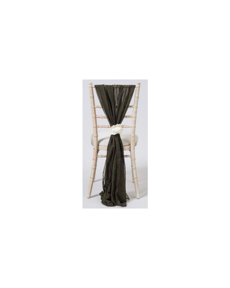 Moss Green Chiavari Chair Cover Wedding Chiffon Vertical Drops