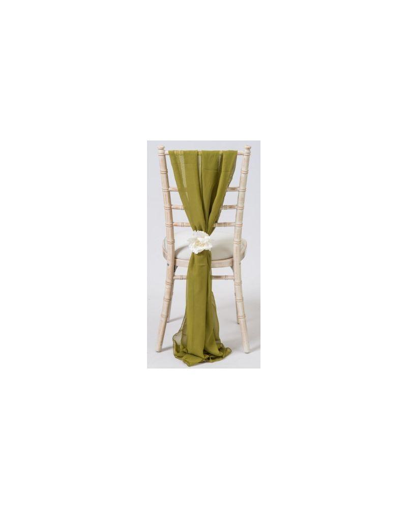 Olive Green Chiavari Chair Cover Wedding Chiffon Vertical Drops