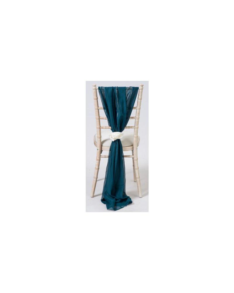 Dark Teal Chiavari Chair Cover Wedding Chiffon Vertical Drops