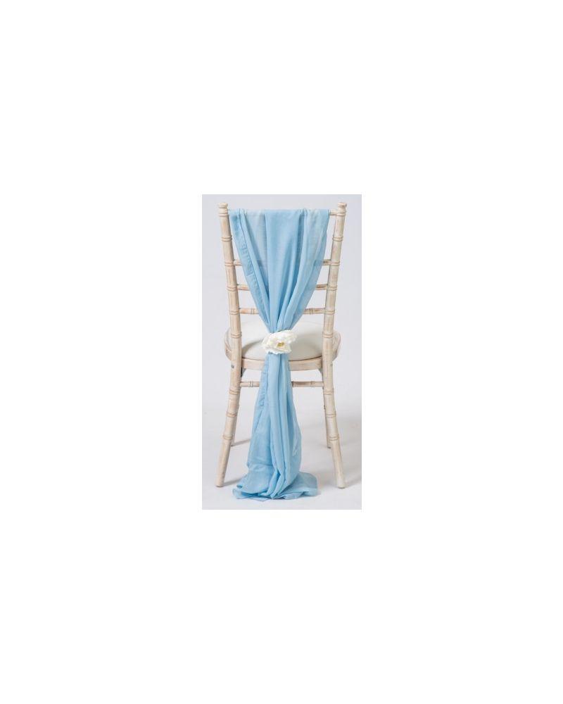 Light Blue Chiavari Chair Cover Wedding Chiffon Vertical Drops