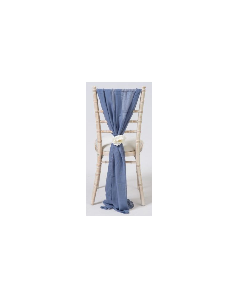 Dusky Blue Chiavari Chair Cover Wedding Chiffon Vertical Drops