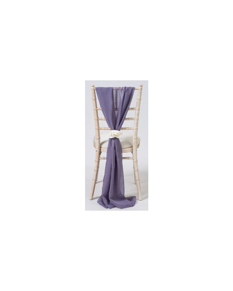 Purple Grey  Chiavari Chair Cover Wedding Chiffon Vertical Drops