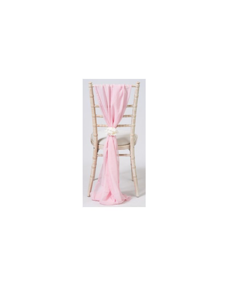 Ice Pink Chiavari Chair Cover Wedding Chiffon Vertical Drops