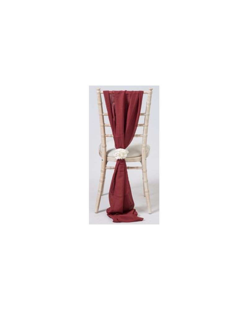 Marsala Chiavari Chair Cover Wedding Chiffon Vertical Drops