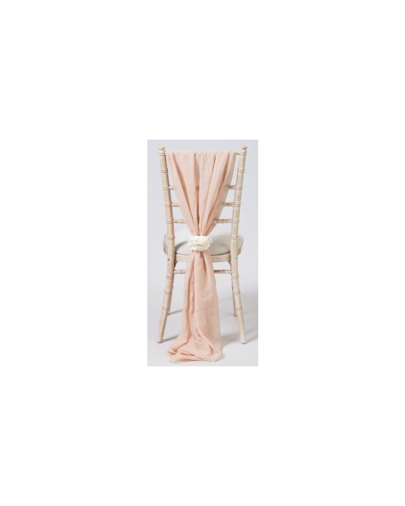 Nude Chiavari Chair Cover Wedding Voile Vertical Drops
