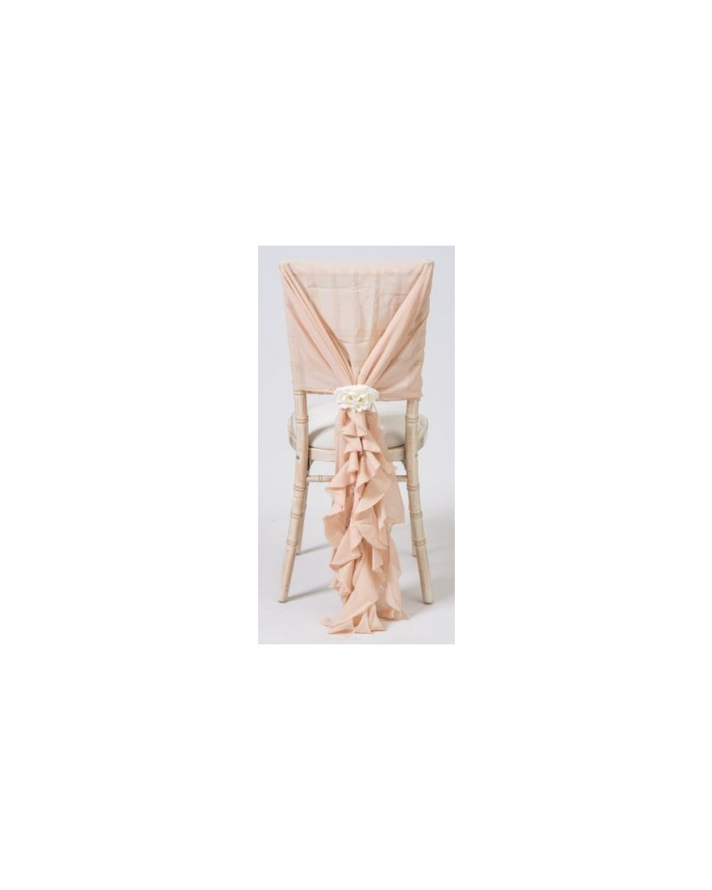 Vintage Nude Pink Chiffon Fancy Chiavari Chair Wedding Hood & Ruffle Tail Set
