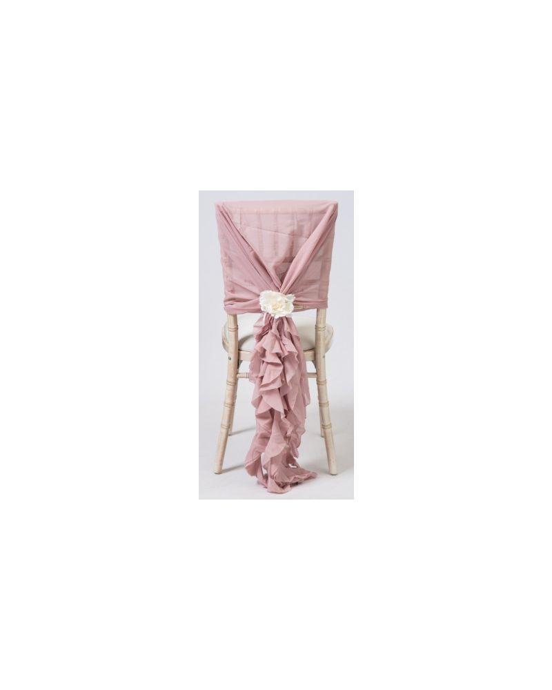 Pale Pink Chiffon Fancy Chiavari Chair Wedding Hood & Ruffle Tail Set