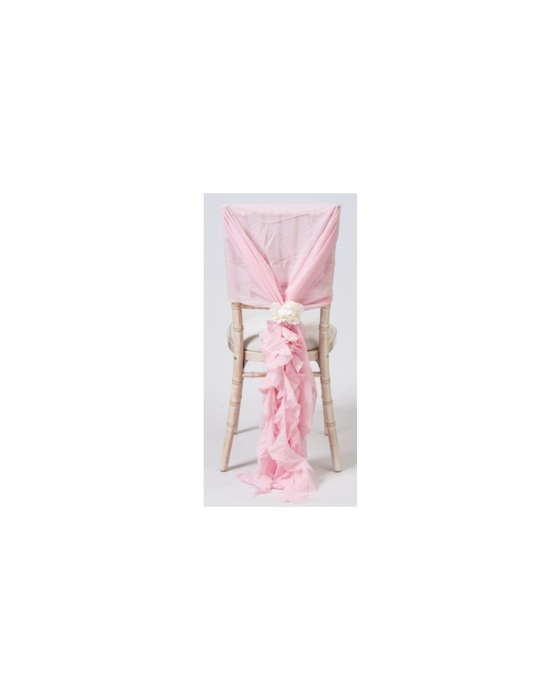Ice Pink Chiffon Fancy Chiavari Chair Wedding Hood & Ruffle Tail Set