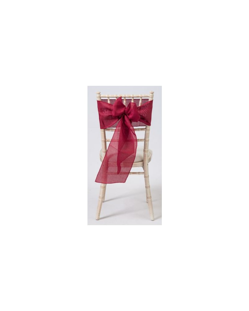 "Dark Red Burgundy  Linen Wedding Chair Cover Sashes 8"" x 108"""