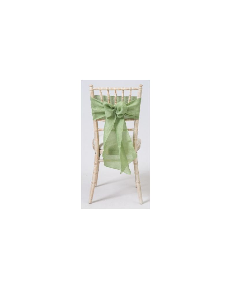 "Sage Green Linen Wedding Chair Cover Sashes 8"" x 108"""