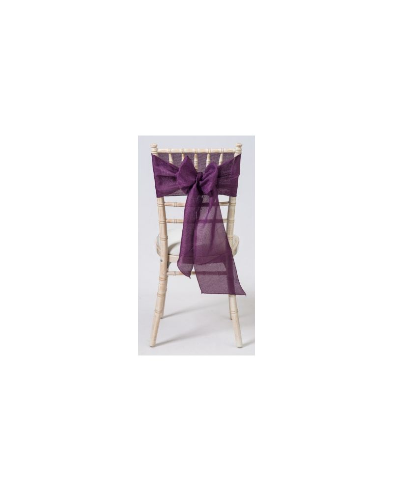"Plum Aubergine Linen Wedding Chair Cover Sashes 8"" x 108"""