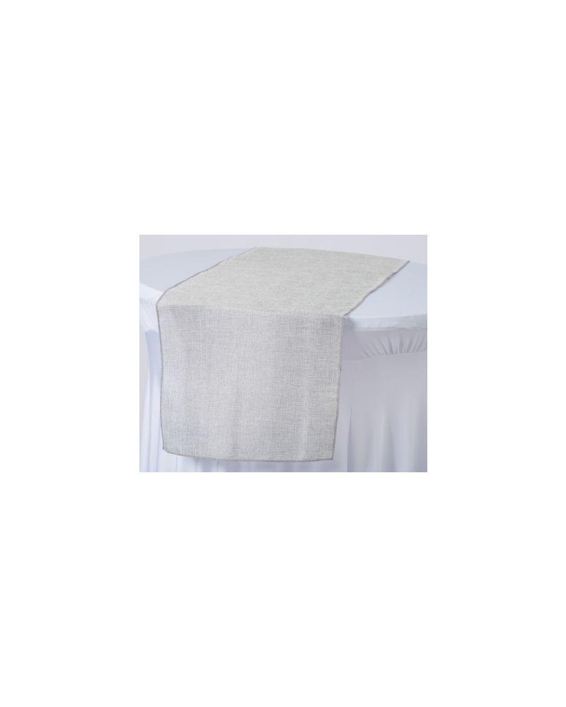 "Light Silver Linen Wedding Table Runner 12"" x 102"""