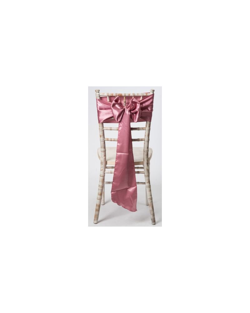 "Dusky  Pink Satin Wedding Chair Cover Sash 8"" x 108"""