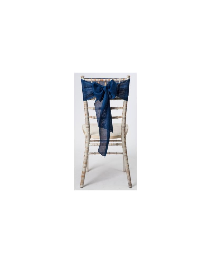 "Petrol Blue Linen Wedding Chair Cover Sashes 8"" x 108"""