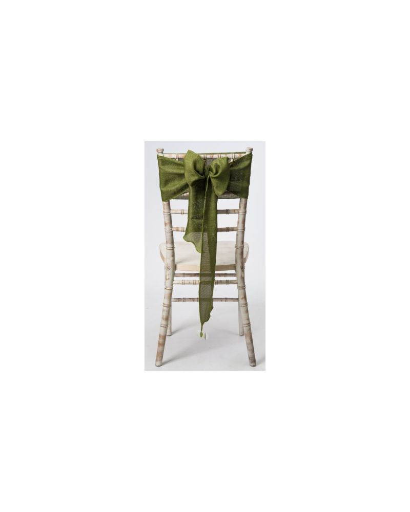 "Olive Green Linen Wedding Chair Cover Sashes 8"" x 108"""