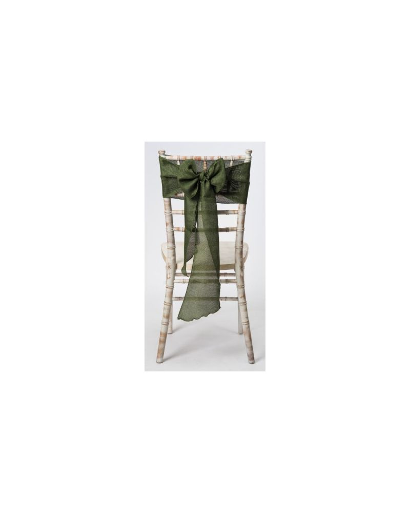 "Moss Green Linen Wedding Chair Cover Sashes 8"" x 108"""