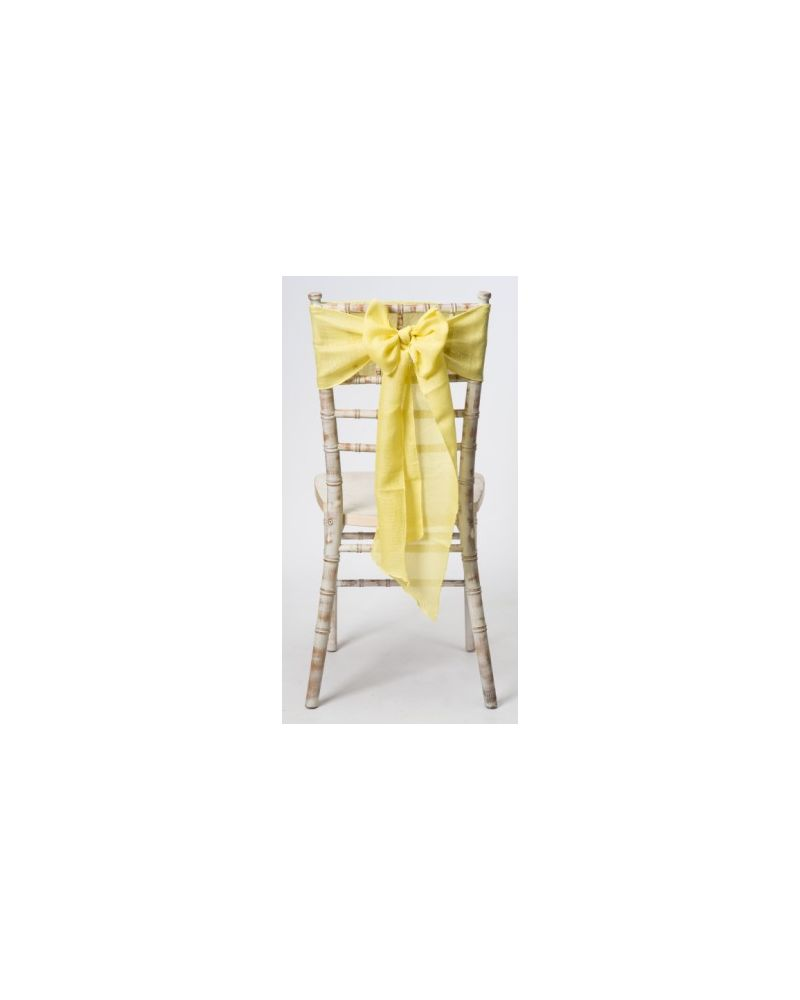 "Lemon Yellow Linen Wedding Chair Cover Sashes 8"" x 108"""