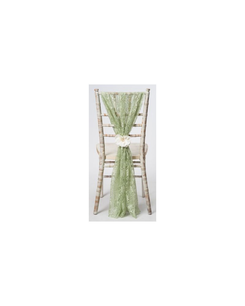 Sage Green Lace Chiavari Chair Cover Wedding  Vertical Drops