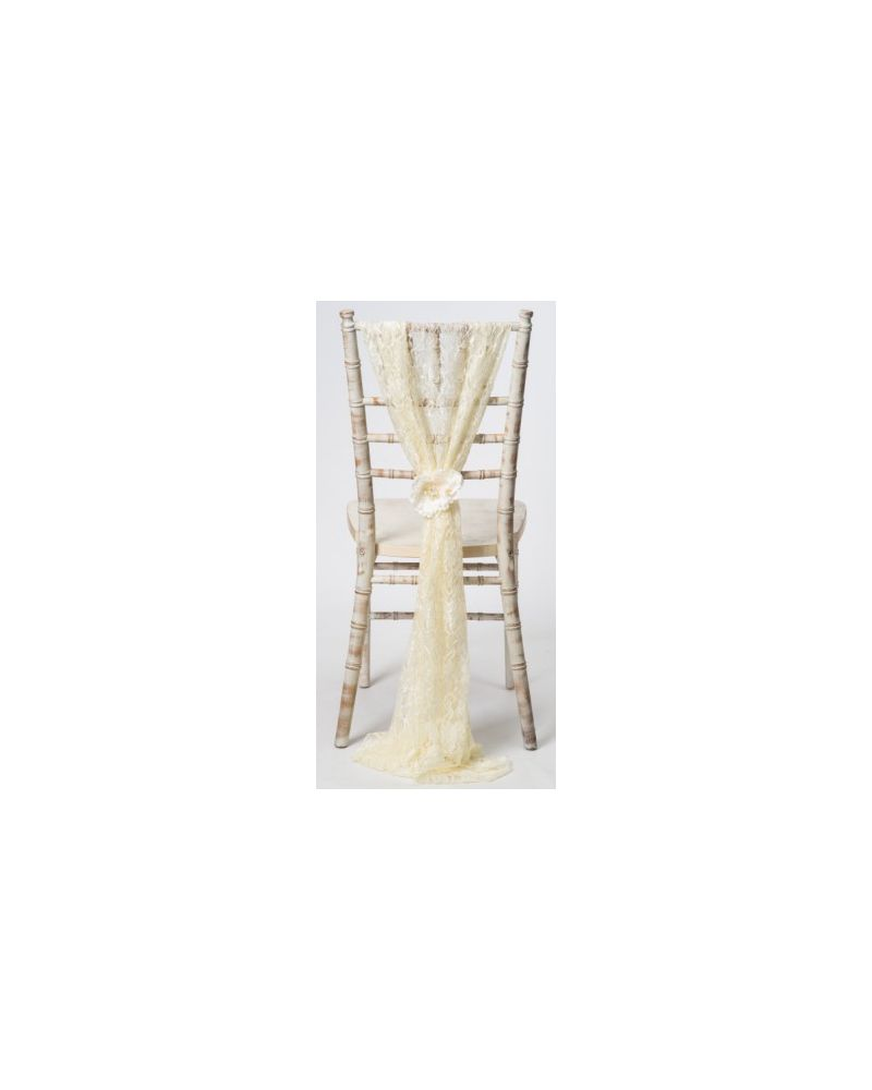 Ivory Lace Chiavari Chair Cover Wedding  Vertical Drops