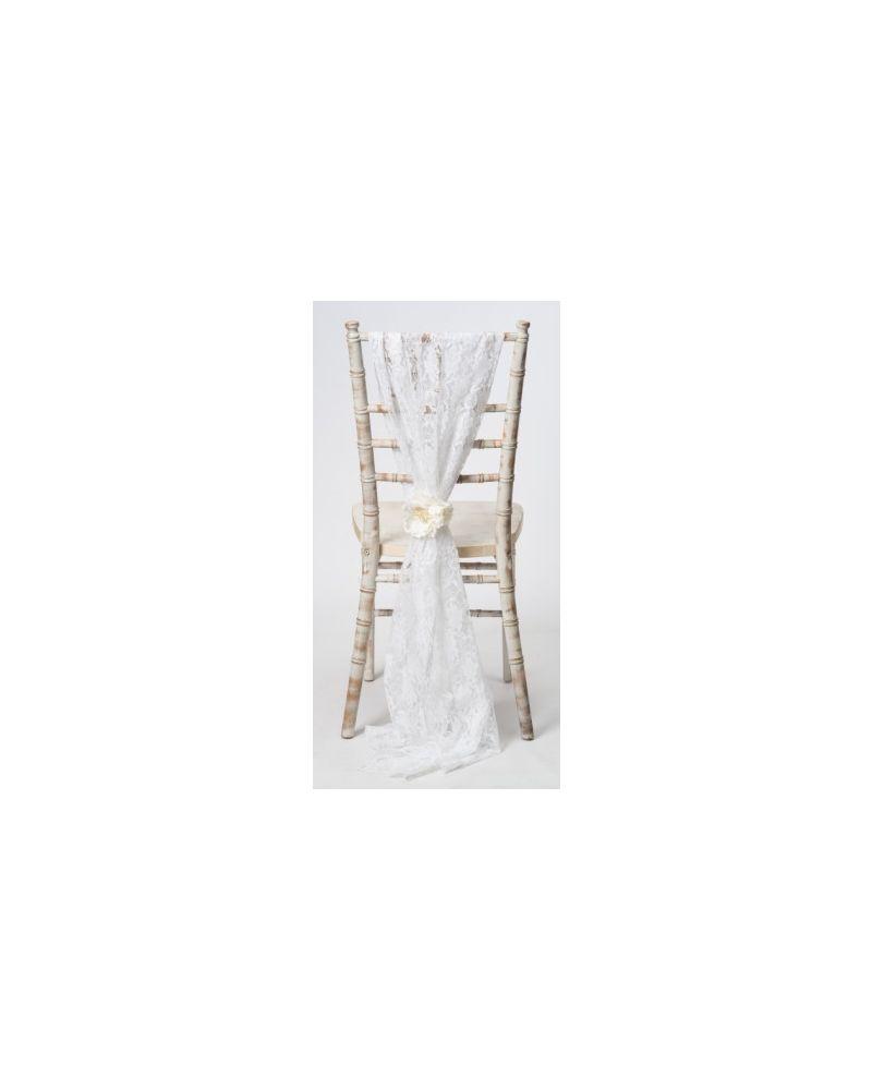 White Lace Chiavari Chair Cover Wedding  Vertical Drops