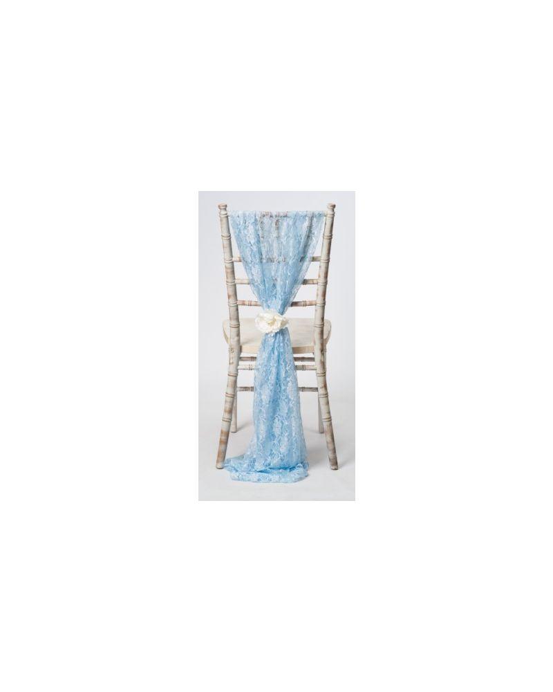 Light Blue Lace Chiavari Chair Cover Wedding  Vertical Drops