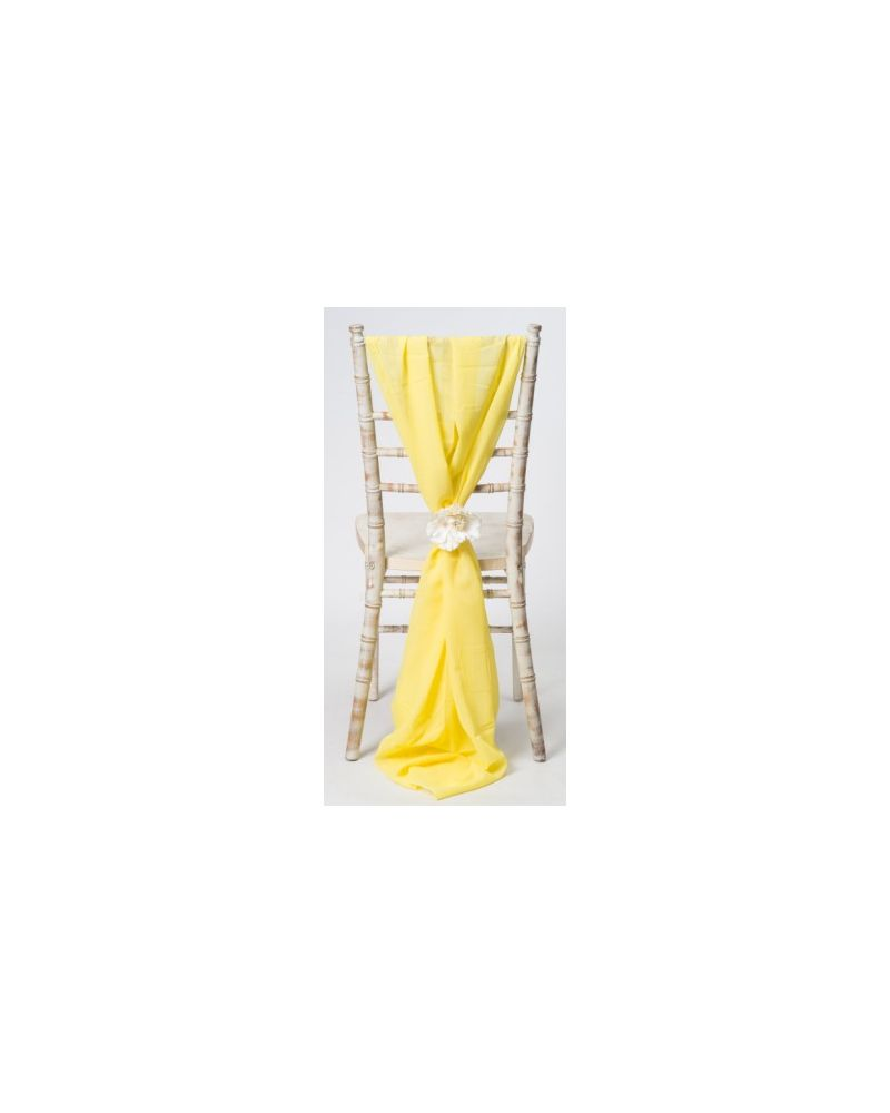 Yellow Lemon Chiavari Chair Cover Wedding Chiffon Vertical Drops