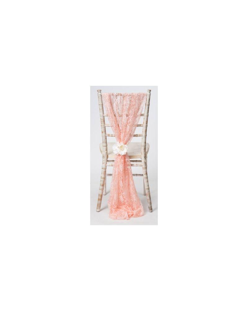 Blush Pink Lace Chiavari Chair Cover Wedding  Vertical Drops