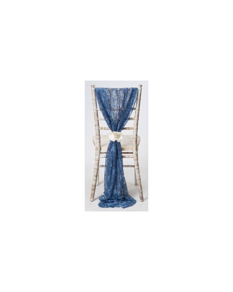 Moonlight Blue Lace Chiavari Chair Cover Wedding  Vertical Drops