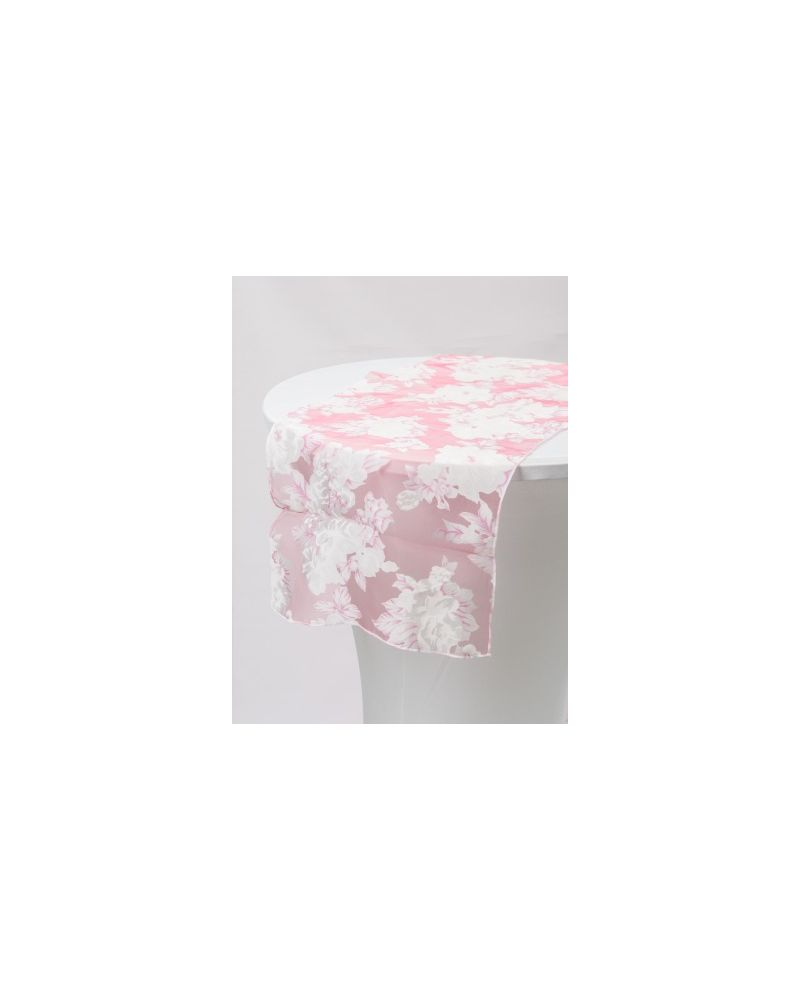 "Pink Floral Runners With White Floral  Organza Table Runners 14""x108"""