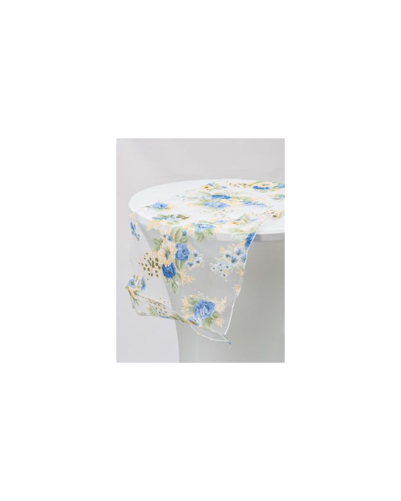 """Blue Floral Runners With Yellow Floral  Organza Table Runners 14""""x108"""""""