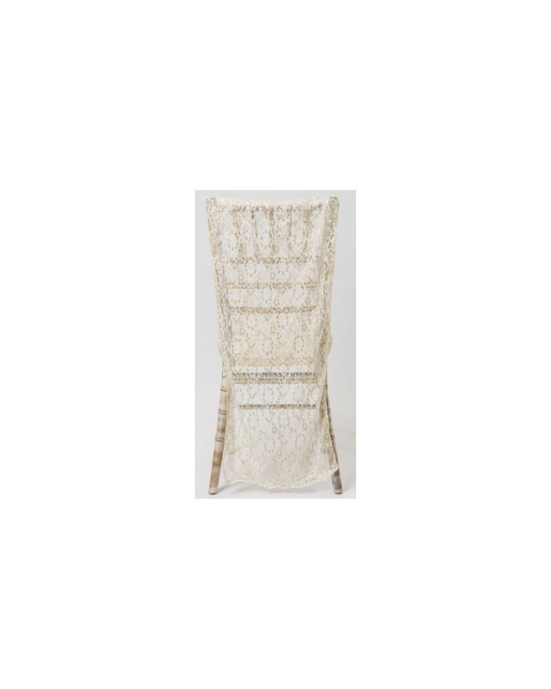 White Lace Chiavari Chair Back with Gold Detail