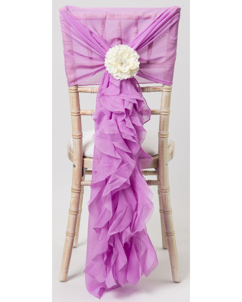 Lavender Chiffon Fancy Chiavari Chair Wedding Hood & Ruffle Tail Set