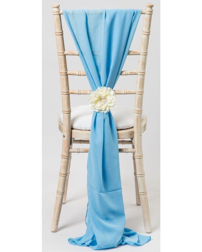 Powder Blue Chiavari Chair Cover Wedding Chiffon Vertical Drops