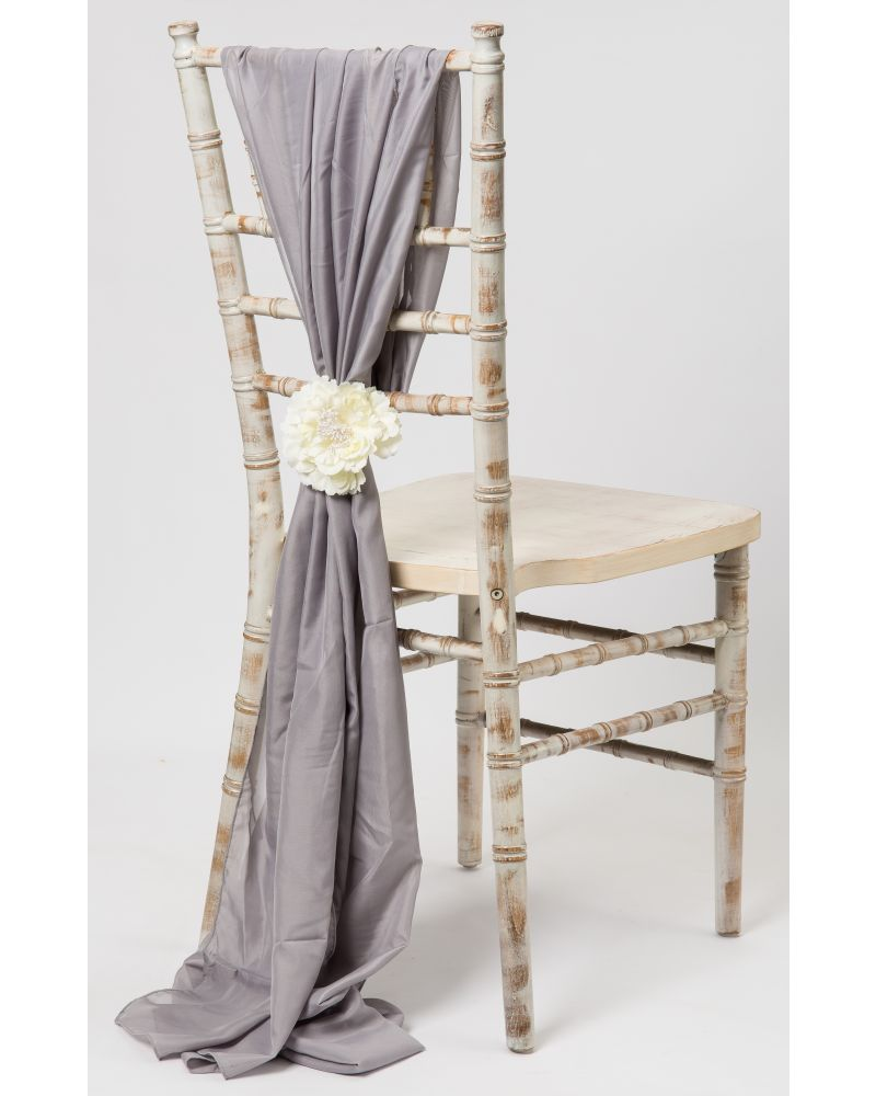 Pewter Silver Grey  Chiavari Chair Cover Wedding Chiffon Vertical Drops