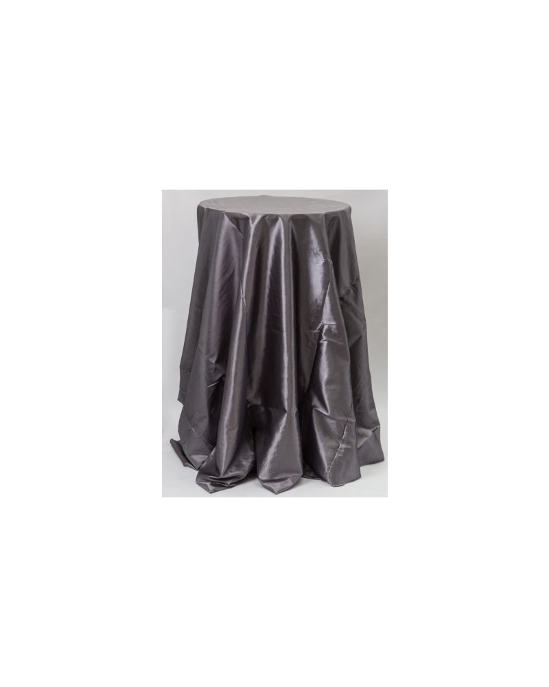 "132"" Inch Round Platinum Grey Taffeta Tablecloth"