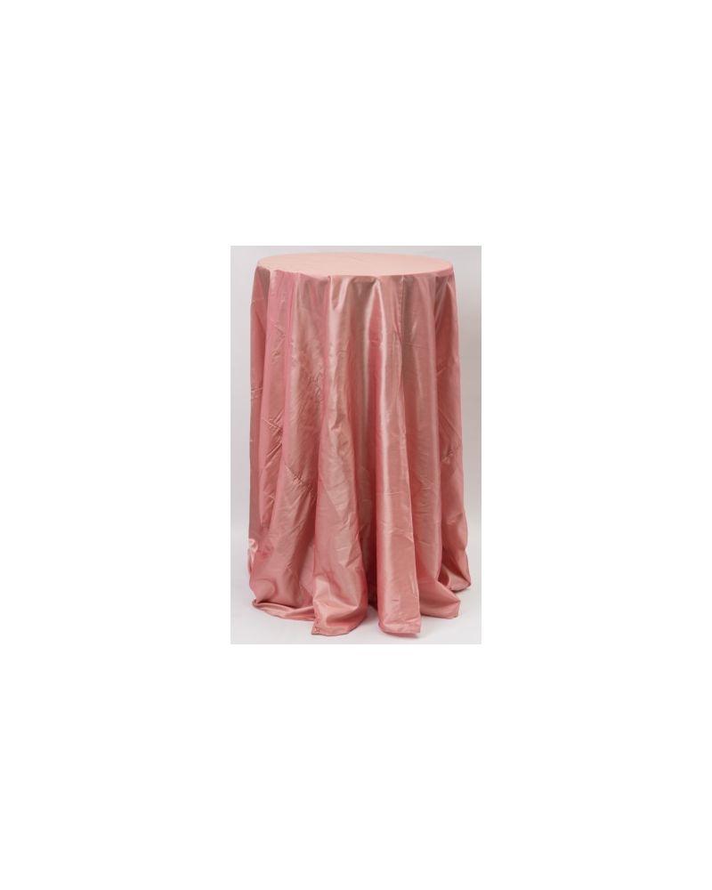 "132"" Inch Round Dusky Pink Taffeta Tablelcoth"
