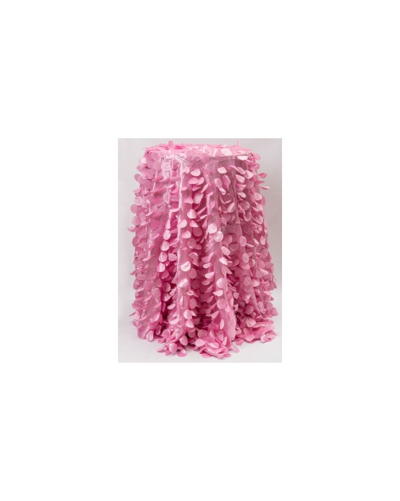 "132"" Inch Round Pink Petal Taffeta Tablecloth"